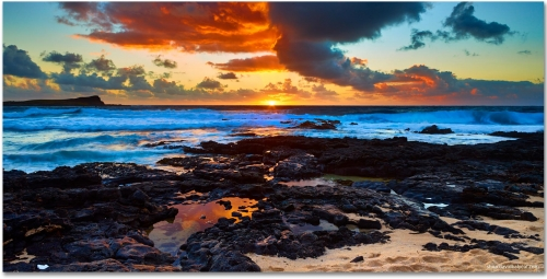 Hawaii Sunrise Makapuu Beach Oahu tide pools high-definition HD professional landscape photography