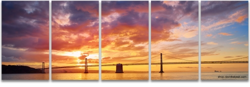 Bay Bridge Oakland San Francisco sunrise panoramic high-definition HD professional cityscape photography