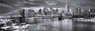 Brooklyn Bridge Manhattan aerial black and white panoramic fine art photography