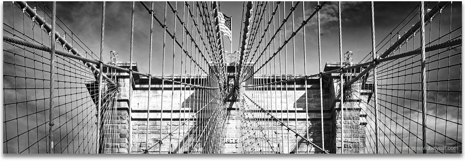 Brooklyn bridge panoramic black and white new york city circa 1875 high definition hd professional