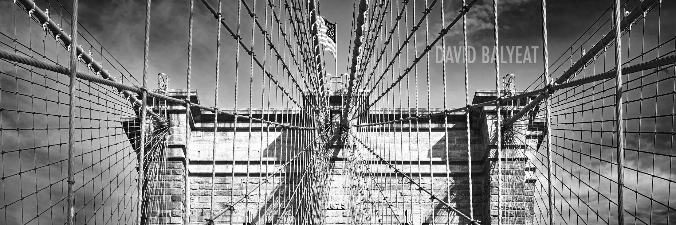Brooklyn Bridge panoramic black and white New York City circa 1875 high-definition HD professional landscape photography