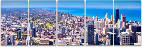 Chicago skyline aerial panoramic Lake Michigan Hancock Tower photography
