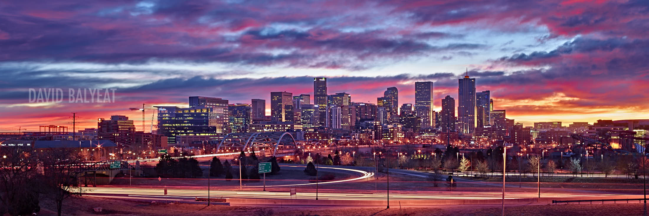 Denver skyline sunrise high definition