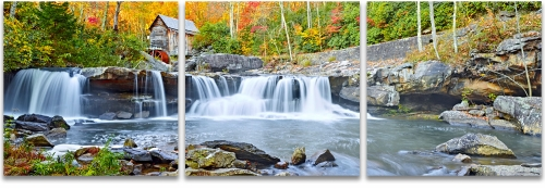Glade Creek falls Babcock State Park fall panoramic photography
