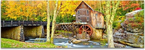 Babcock State Park panoramic Glade Creek Grist Mill Watermill autumn fall foliage high definition hd phtography