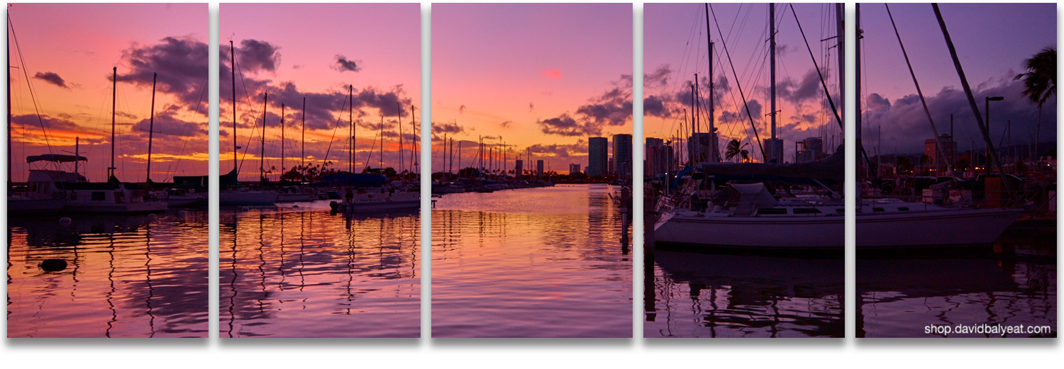 Honolulu Harbor sailboats sunset panoramic high-definition HD professional landscape photography