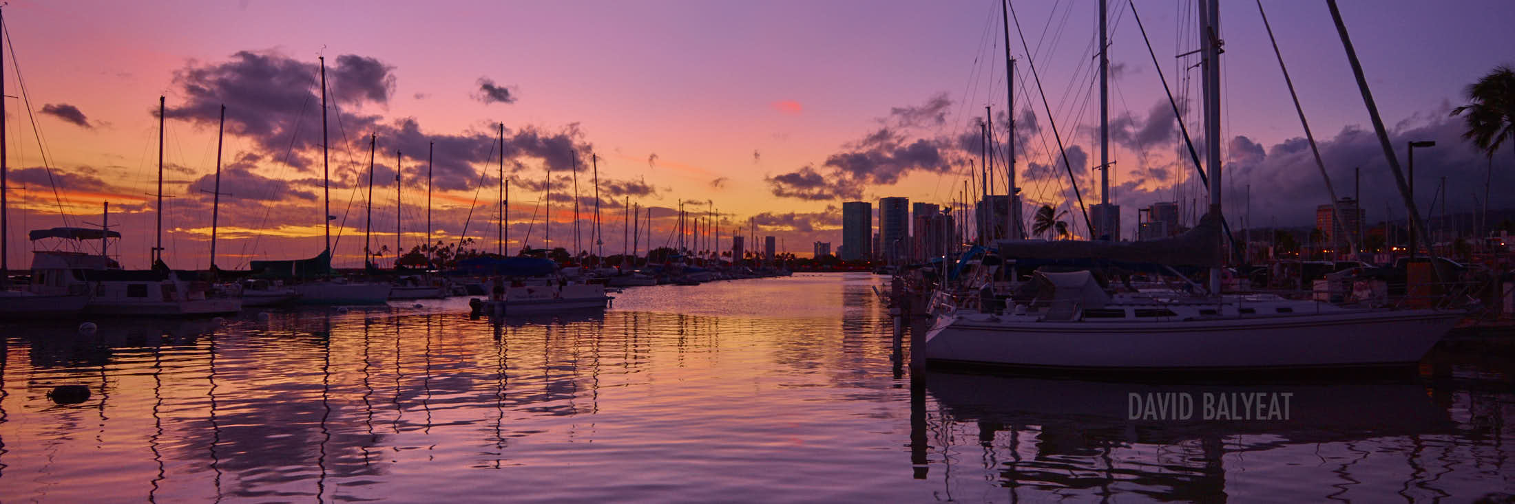Honolulu Harbor sailboats sunset panoramic O'ahu Hawaii high-definition HD professional landscape photography