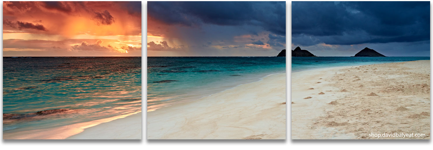 Lanikai beach O'ahu Hawaii sunrise panoramic fine art photography