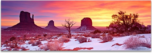 Monument Valley Utah snow sunrise panoramic high-definition HD professional landscape photography