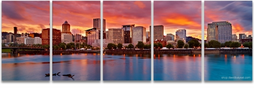 Portland skyline sunset Oregon high definition photography