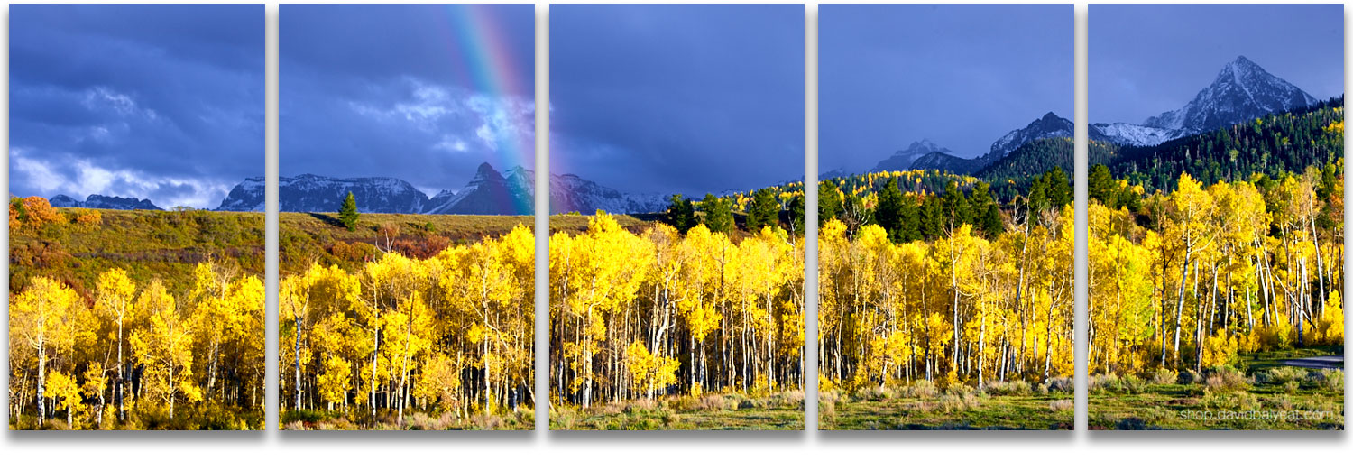 Rainbow aspen trees panoramic Colorado mountain scene high-definition HD professional landscape photography