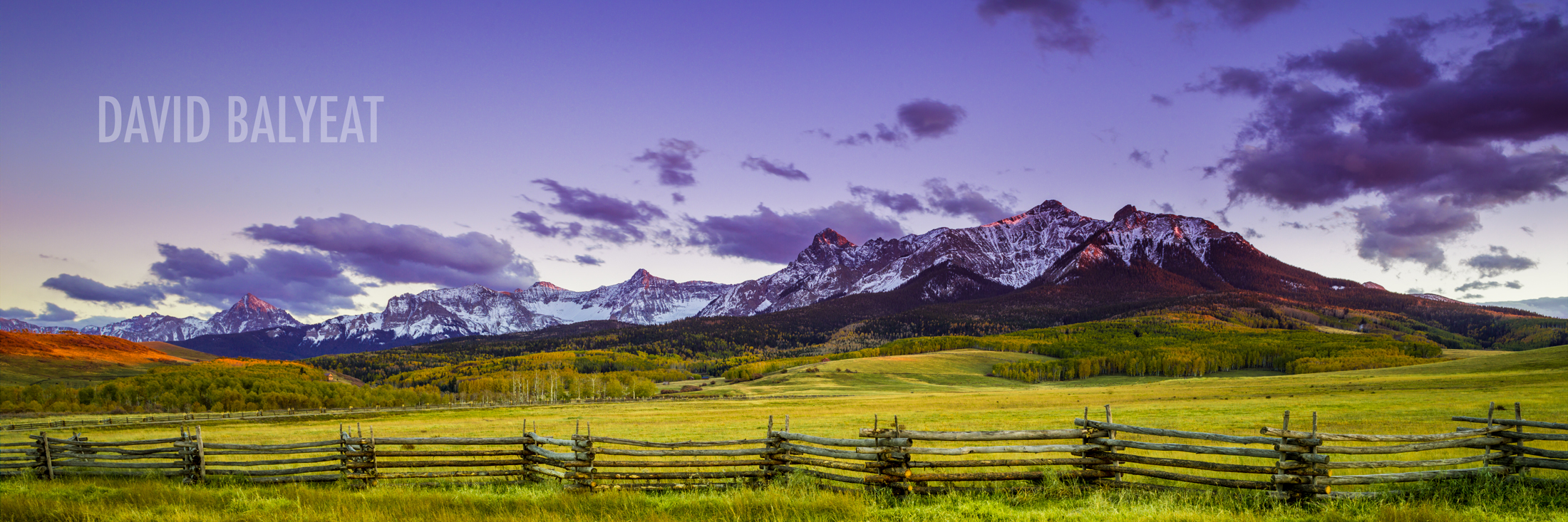 Rustic Fence San Juan Mountains Colorado sunset panoramic photography