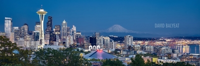 Seattle skyline space needle Mount Rainier fine art cityscape photography