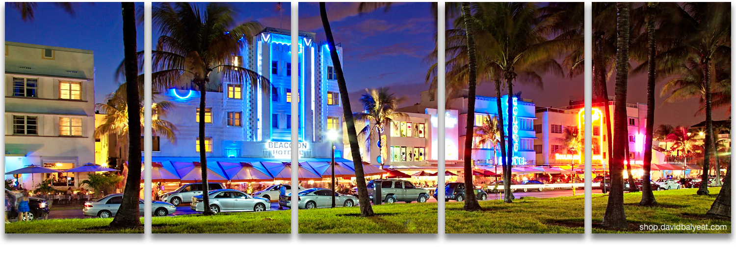 South Beach Miami Ocean Drive panoramic high-definition HD cityscape photography