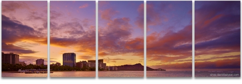 Waikiki Beach sunrise panoramic diamond head fine art photography
