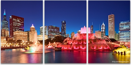 Buckinham Fountain Millenium Park Chicago skyline cityscape photography