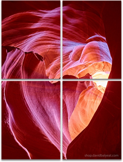 Angel's Heart Antelope Canyon HD vertical large format 4-panel artwork