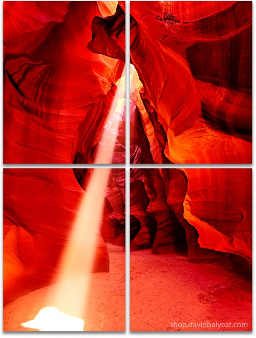 Antelope Canyon light beam Arizona large 4-panel artwork