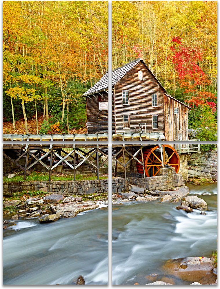 Babcock Mill Babcock State Park Autumn fall foliage large 4-panel artwork