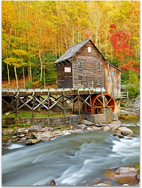 Babcock Mill Babcock State Park Autumn fall foliage artwork