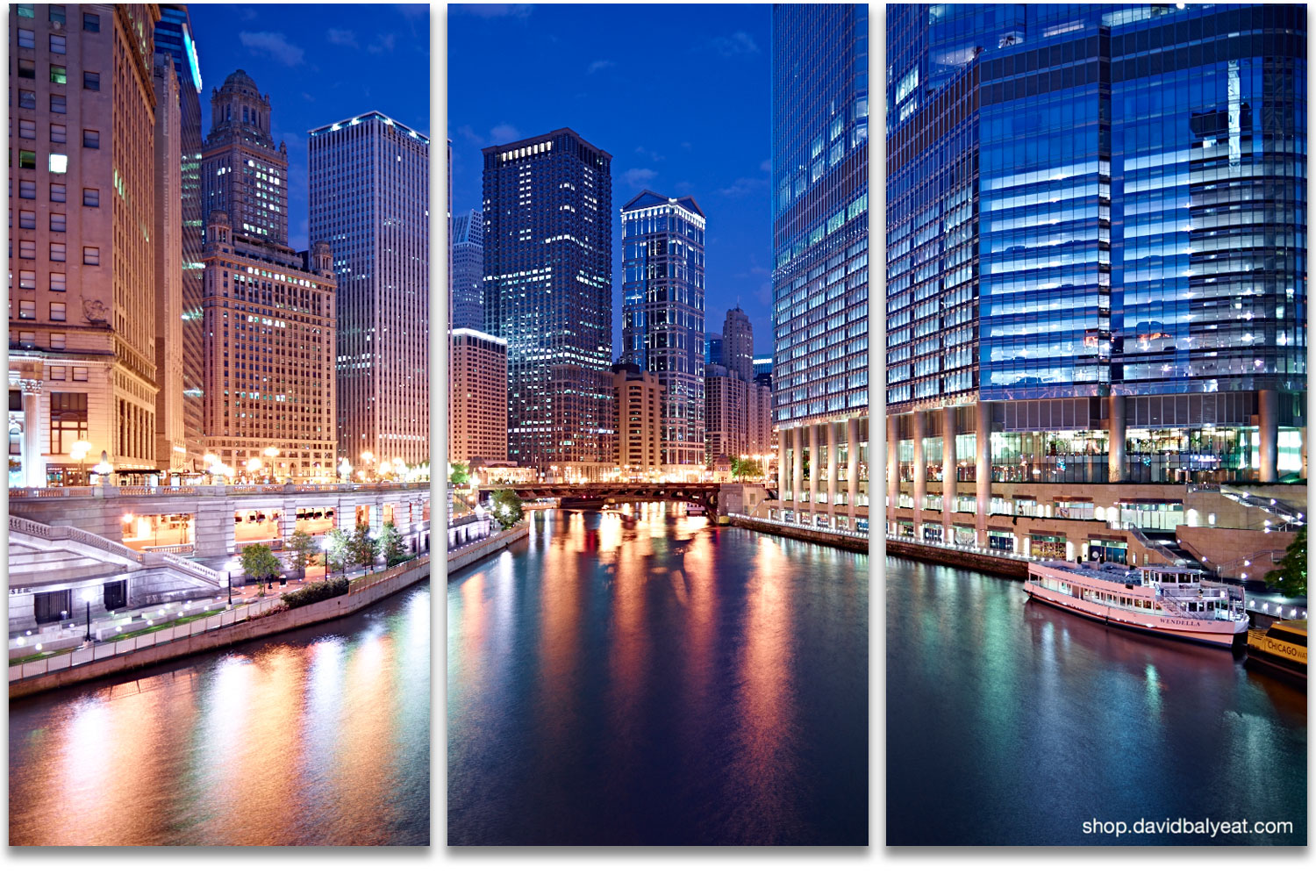 Chicago dawn Chicago River skyline reflections high-definition HD professional cityscape photography