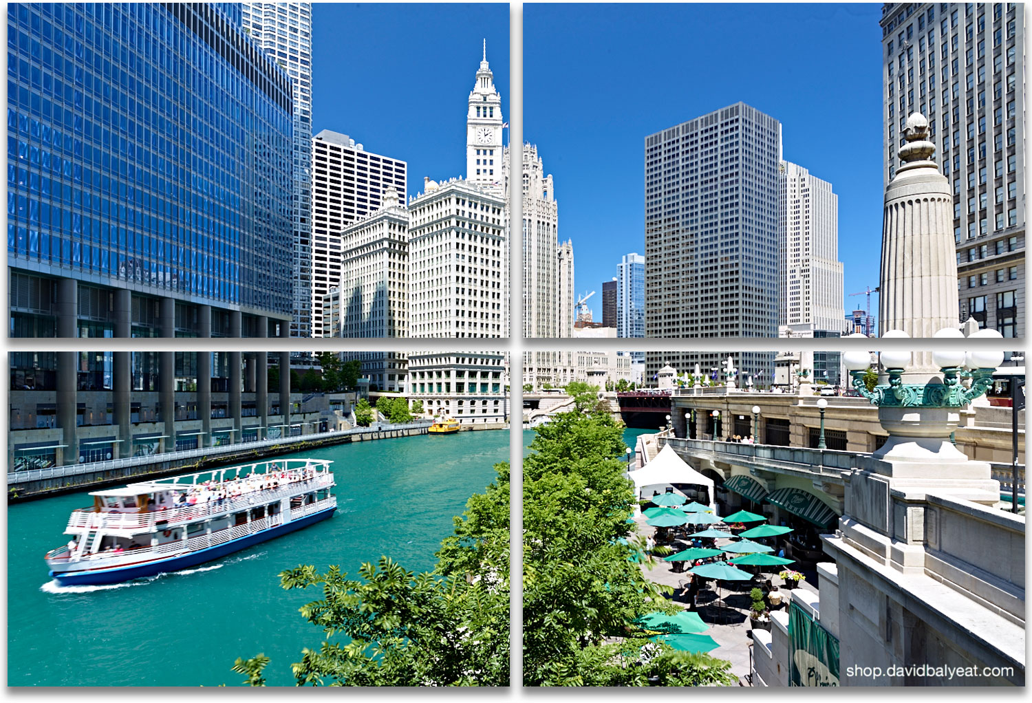Chicago Riverwalk ferry boat patio diners high-definition HD professional cityscape photography
