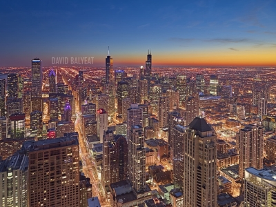 Chicagoland Chicago skyline aerial sunset high-definition HD professional cityscape photography