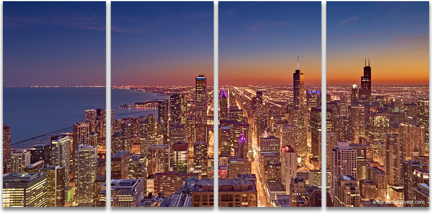 Chicago skyline sunset Willis Trump Tower Lake Michigan high-definition cityscape photography