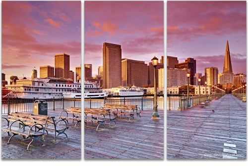 City of Gold San Francisco Embarcadero Pier #7 cityscape 3-panel triptych artwork