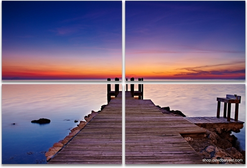 Florida Keys sunset jetty 4-panel artwork