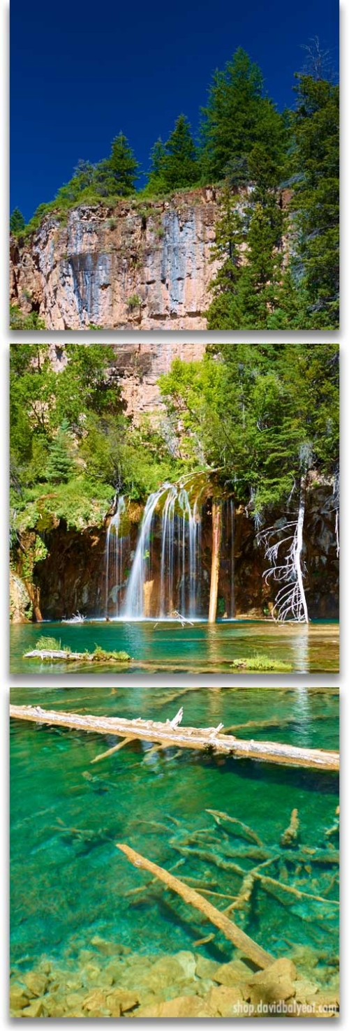 Hanging Lake panoramic triptych wall art Glenwood Springs Colorado