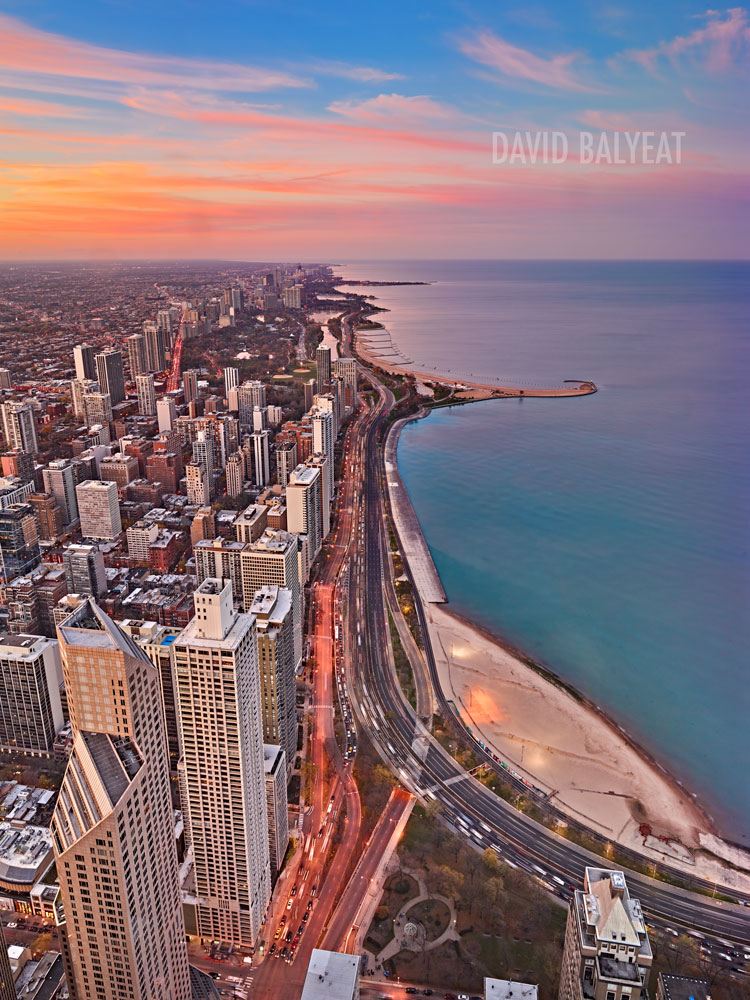 Lake Shore drive aerial Chicago Lake Michigan high-definition HD professional cityscape photography