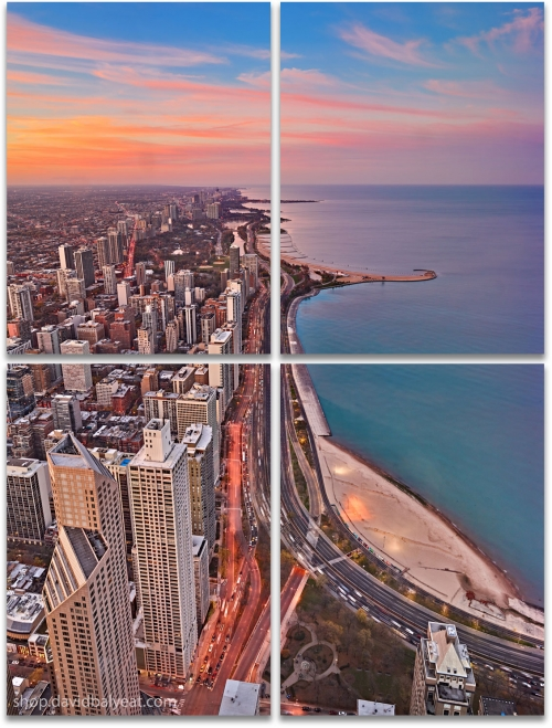 Lake Shore drive aerial Chicago Lake Michigan large 4-panel artwork wall art