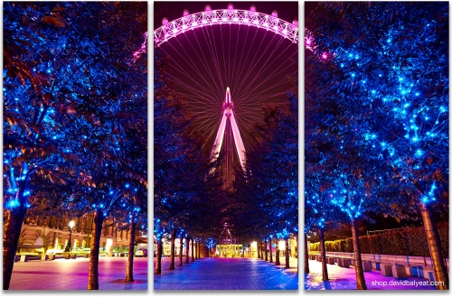 London Eye Jubilee Gardens Promenade cityscape 3-panel artwork