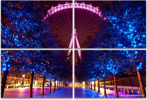 London Eye Jubilee Gardens Promenade cityscape 4-panel artwork