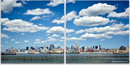 Midtown Manhattan New York skyline partly cloudy skies high-definition hd cityscape photography