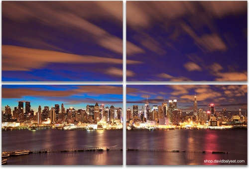 Midtown Sunrise Manhattan New York City skyline 4-panel artwork