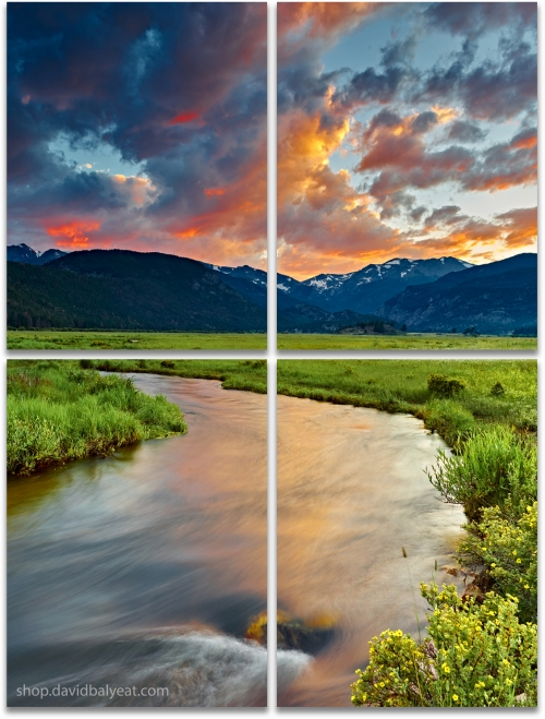 Moraine Valley Rocky Mountain National Park Colorado sunset large 4-panel artwork