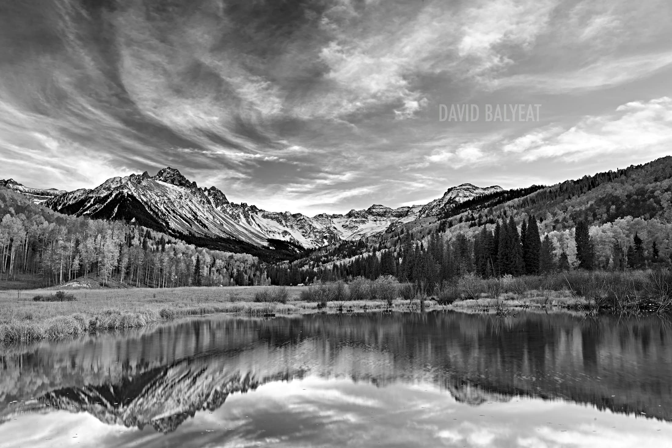 Mount Sneffels snow-capped Colorado mountains black and white high-definition HD professional landscape photography