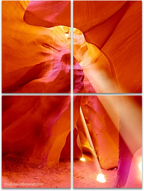 Navajo Warrior Antelope Canyon light beams large 4-panel artwork