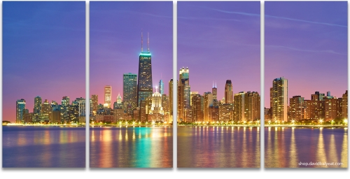 North Chicago skyline lake michigan riverwalk high-definition HD cityscape photography