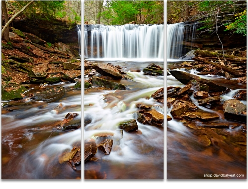 Oneida Falls Ricketts Glen State Park landscape photography 3-panel artwork