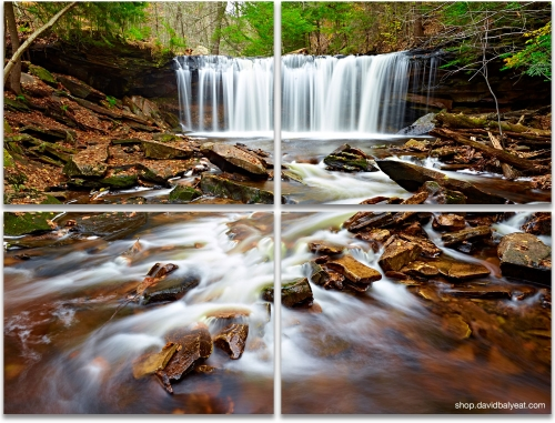 Oneida Falls Ricketts Glen State Park landscape photography 4-panel artwork