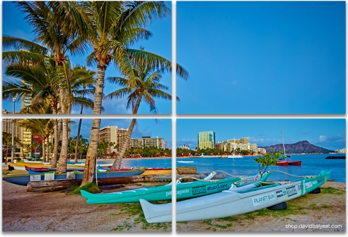 Outrigger Boats Waikiki Beach Honolulu O'ahu Hawaii 4-panel artwork
