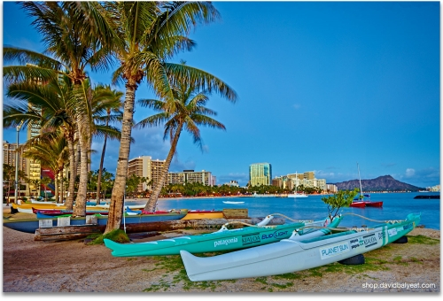 Outrigger Boats Waikiki Beach Honolulu O'ahu Hawaii artwork