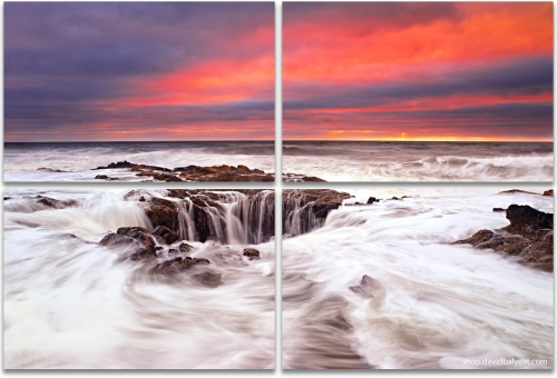 Thor's Well Cape Perpetua Yachats Oregon coast 4-panel artwork
