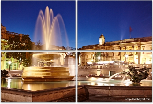 Trafalgar Square London fountains high-definition HD cityscape photography 4-panel artwork