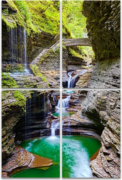 Watkins Glen State Park waterfalls forbidden pool large 4-panel artwork