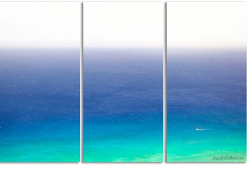 Sail Away Hawaii Sailboat at Waikiki Beach Oahu - 3 Panel (triptych) Artwork
