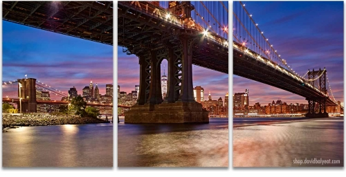 DUMBO Brooklyn New York City 3 Panel triptych Artwork
